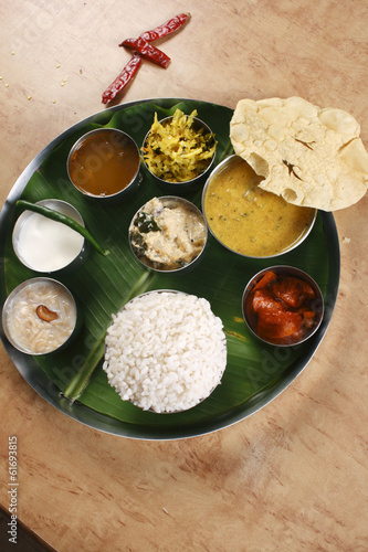 Malabar Thali - a selection of different dishes