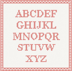 Christmas Font: knitted alphabet