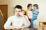 Couple with two children in quarrel