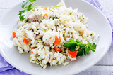 Arborio rice with cheese and vegetables