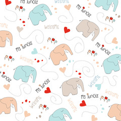 Seamless baby elephant pattern