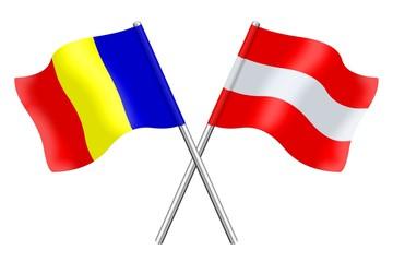 Fahnen: Rumänien und Österreich