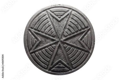 Round vintage sewer manhole with cross pattern isolated on white