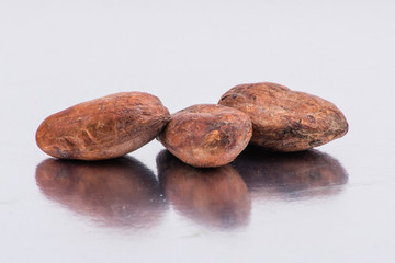 Chocolate cocoa beans isolated on white background
