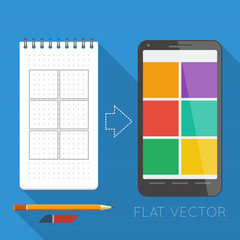 Flat elements: notepad and smartphone
