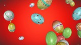 Easter eggs falling down - 3D rendered.