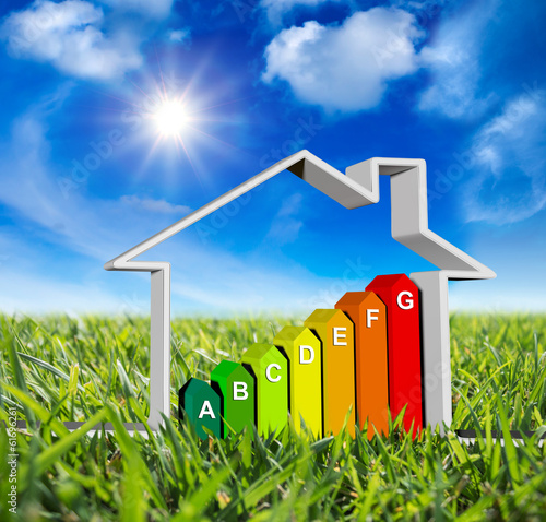 house with energy classes - on green meadow and sun in blue sky