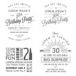 Vintage adult birthday invitation design elements - 61696413