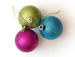 Three decorative colorful christmas balls