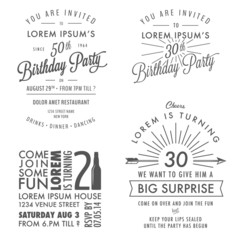 Vintage adult birthday invitation design elements