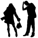 Vector silhouette shopping