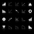Diagram and graph icons with reflect on black background