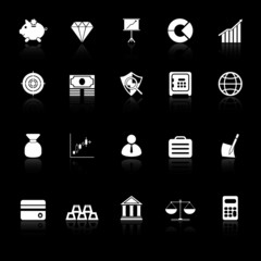 Finance icons with reflect on black background