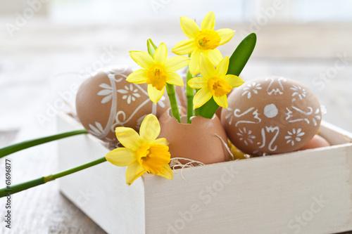 Fotobehang Narcis Frische Osterglocken in Eierschale