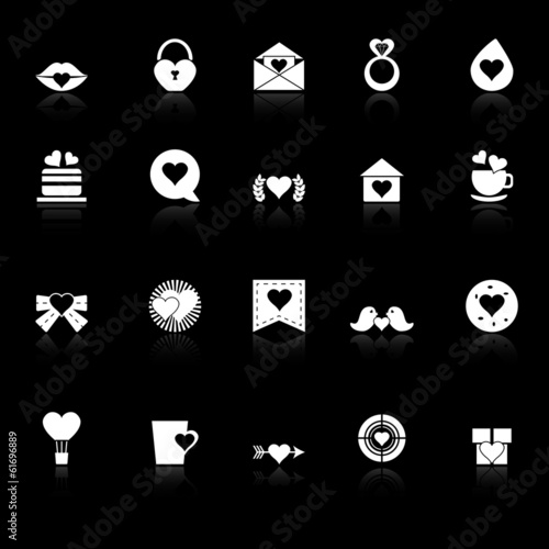 Heart element icons with reflect on black background