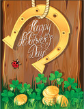 Holiday card with calligraphic words Happy St. Patrick`s Day. Sh