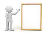 3d man standing and presenting blank board over white background