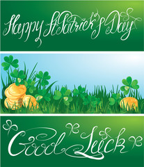 Set of 3 horizontal banners with calligraphic words Happy St. Pa
