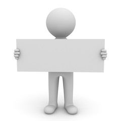 3d man holding long blank sign on white background