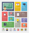 Education flat web elements with icons