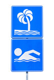 Public beach swimming sign