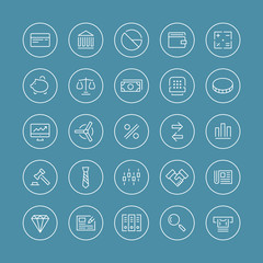 Finance and business flat line icons