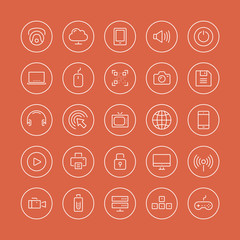 Multimedia and technology flat line icons