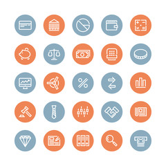 Finance and business flat icons set