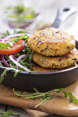 Vegan burgers with quinoa and vegetables