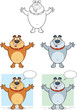 Bulldog With Open Arms Cartoon Mascot Characters  Collection Set