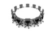 White round table with black chairs - 3D rendered.