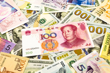 chinese and world currency money banknote