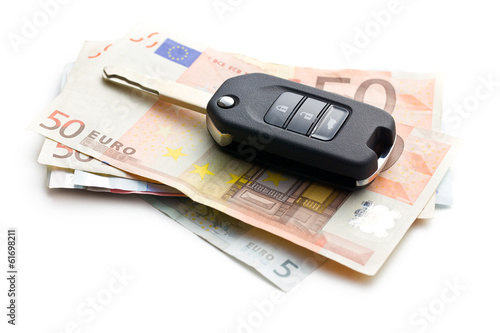 car key on euro currency