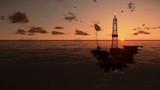 Oil Rig in ocean, timelapse