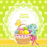 Happy easter vintage cards with colorful easter eggs in basket