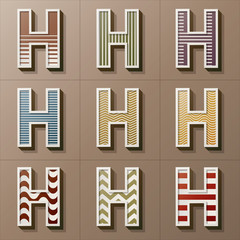 Set of Retro Style Alphabet H, Eps 10 Vector, Editable for Any B