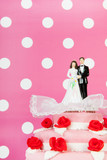 Wedding cake with couple on pink background