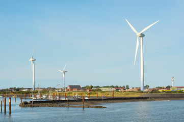 Windmills and harbor Borkum
