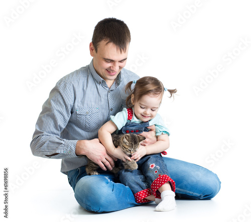 happy kid and dad play with cat kitten
