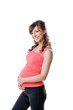 Portrait of happy active pregnant woman
