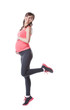 Image of happy pregnant woman engaged in aerobics