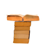 Stack of old books on white background,clipping path.