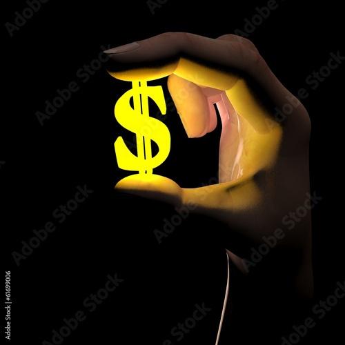 Mano che tiene simbolo dollaro
