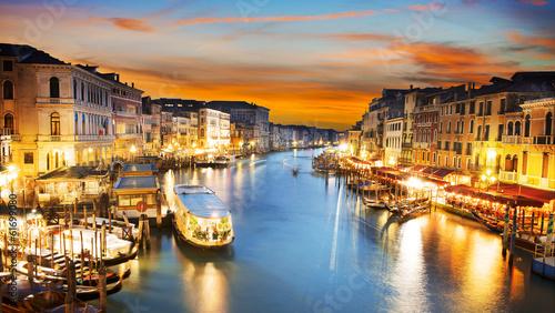 Zdjęcia na płótnie, fototapety na wymiar, obrazy na ścianę : Grand Canal at night, Venice