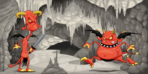 Inside the cavern with funny devils.
