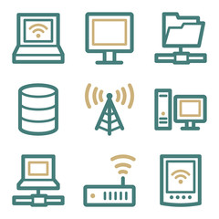 Network web icons, two color series