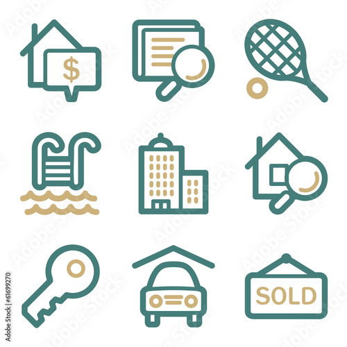 Real estate web icons, two color series