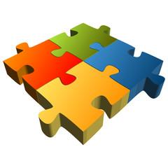 Puzzle - 4 Teile Teamwork