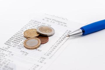 Quittung, Wechselgeld und Kuli