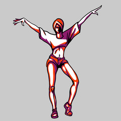 Hand drawn vector - sexy girl dancer with sportive body